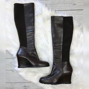 Michael Kors Wedge Heel Leather Tall Knee Boots